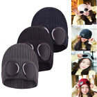 Ladies Mens Goggle Beanie Knitted Woolly Winter Chunky Beany Hat