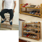 2/4/6 Tier Solid Wood Shoe Rack Shelf Storage Organizer Wooden Slats Entryway