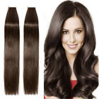 "THICK Glue Tape In Remy 100% Real Human Hair Extensions 16""-22"" Brown Black P494"