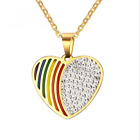 Lesbian LGBT Gay Fashion Heart Stainless Steel Pride White Rhinestones Pendant