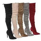 Womens Over The Knee Stretchy Snug Fit Drawstring Thigh High Stiletto Heel Boots
