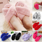 New Women's Plush Slippers Sandals Slides Mules Home Winter Warm Open Toe Shoes