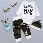 Lovely Newborn Baby Boys Girls Top Romper Pants Hat 3PCS Outfits Clothes Set