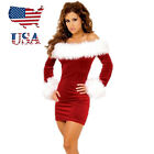US Stock Xmas Sexy Miss Santa Claus Costume Christmas Party Mini Fancy Dress