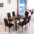 Glass Dining Table and Chairs Set with 4 or 6 Faux Leather Chairs Black <br/> Order Now Dispatch in 24 hours&radic;Cheapest on Apr