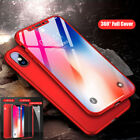 360° Shcokproof Case For iPhone X Thin Slim Hard Cover & Temper Glass Protecter