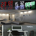 Modern Design Digital LED 3D Auto Dimming Night Time Wall Clock 24/12 Hour Alarm