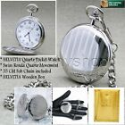HELVETIA Silver SWISS Movement Mens Quartz Pocket Watch Gift Chain Wood Box P80