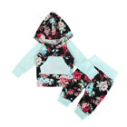 US Stock Infant Baby Girls Floral Hoodie Tops Coat Long Pants Outfit Set Clothes