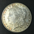 1881 S Morgan Sliver Dollar -  colorful Toned- AU condition