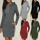 Womens Winter Long Sleeve Ladies Casual Mini Sweater Hoodies Slim Pullover Dress