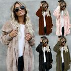 Plus Size Womens Winter Hooded Fluffy Coat Fleece Fur Jacket Loose Tops UK Stock