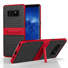 For Samsung Galaxy Note 4/5/8 Slim Carbon Fiber Hybrid Case Full Cover Kickstand