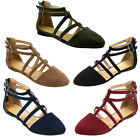 Womens Ankle Strap Flats Shoes Back Zipper T-strap Ballerina Run One Size Small