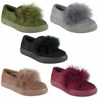 Womens Fur Pumps Flats Trainers Ladies Faux Suede Sneakers Slip On Shoes Size