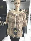 Real mink fur jacket shanel natural ice norka leg pieces first quality italy