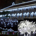 US White 96-1000 LED Christmas Limitations Fairy Indoor/Open-air Icicle Curtain Lights