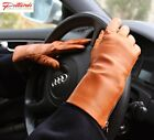 BRAND NEW! Stylish Cognac Leather Gloves with zipper! BRAND NEW!