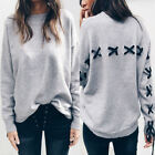Fashion Womens Floral Long Sleeve Casual Lace Up T Shirt Blouse Jumper Top