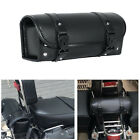 Universal Motorcycle Tool Bag Black PU Leather Luggage Handle Bar Storage Pouch