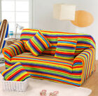 Rainbow Stretch Fitted L-Shaped Couch Cover Pet Protect Colorful Suitable Use