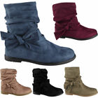 Girls Ankle Boots Kids Mid Calf Faux Suede Flat Children Zip Winter Shoes Size