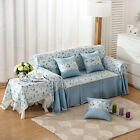 Blue Flower Cotton Blend xhace L-Shape Sofa Cover Protector for 1 2 3 4 seaters
