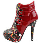 Punk Buckle Night Sky High Heel Stiletto Platform Ankle Boots
