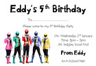 personalised photo paper card birthday party invitations invites POWER RANGERS 2