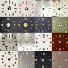 Large 3D Design Wall Clock Luxury Mirror Home Decoration DIY Bedroom 4 Colors BR