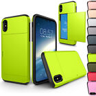 For Apple iPhone X Case Credit Card Holder Wallet Pocket Shockproof Rubber Armor
