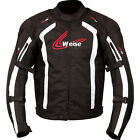 WEISE CORSA BLACK WHITE WATERPROOF MOTORCYCLE JACKET WITH BACK PROTECTOR