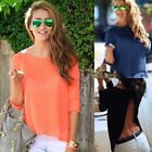 Women T-shirts Solid Backless Chiffon Split Shirts Casual Tops Blouses Invisible