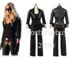 Cosplay Green Arrow Black Canary Laurel Lance Leather Outfit Costume Suit+Gloves