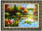 Framed, Monet Garden at Giverny Repro 6, Hand Painted Oil Painting 24x36in