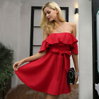 Off Shoulder Ruffle Red Women Sexy Strapless Waist Belt Loose Party Club Dress