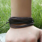 Simple Braid Adjustable Alloy Cow Leather Slide Bangle Cuff Bracelet Jewelry