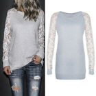 Womens Casual Floral Lace Long Sleeve Crew Neck Shirt Tops Sweatshirt Blouses