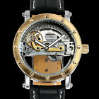 Gold Brige Mechanical Mens Watch Transparent Black Leather Automatic Skeleton