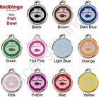 Red Dingo FISH BOWL Engraved Dog ID Pet Tag / Charm - Stainless Steel & Enamel