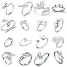 Adjustable Ring Dolphins Crystal Flower Heart Style Open Rings Women Men Jew Vnc