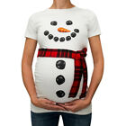 Christmas Snow Man Print Women Maternity T-shirt Pregnant Tees Top Funny Gift US