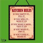 """KITCHEN RULES*IF YOU COOK IT - SHARE IT!"" WOODEN POSTER PLAQUE/SHABBY CHIC SIGN"