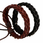 Men Women Fashion Adjustable Bead Leather Twist Braid Bracelet Jewelry Gift image