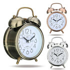 Silent Double Bells Quartz Movement Bedside Table Retro Mini Alarm Clock Loud