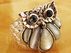 Stunning Night Owl Carving Topaz White Shell Bali Sterling Silver 925 Ring M601