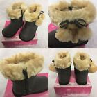 GIRLS DOUBLE POM POM GREY FUR LINED boots 6 SIZES AVAILABLE