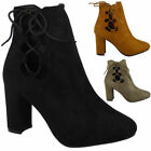 Womens Ladies Booties Faux Suede High Mid Heel Lace Up Ankle Zip Boots Shoe Size