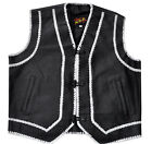 Vest Leather Motorcycle style Black with white strings