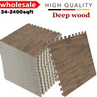 24-2400SqFt Interlocking EVA Foam Floor Mat Deep Wood Grain Play Gym Puzzle LOT
